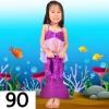 NB010-90 ชุดว่ายน้ำเด็ก หางนางเงือก มีเกล็ด สีม่วง เสื้อมีระบาย พร้อมกระโปรง สามารถนำขาออกได้ 1 ชุด มี 3 ชิ้น